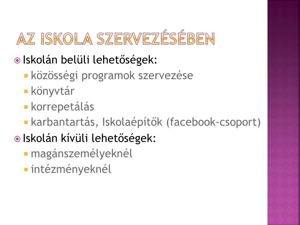 Iskolán belüli lehetőségek:  közösségi programok szervezése  könyvtár  korrepetálás  karbantartás, Iskolaépítők (facebook-csoport)  Iskolán kívüli lehetőségek:  magánszemélyeknél  intézményeknél