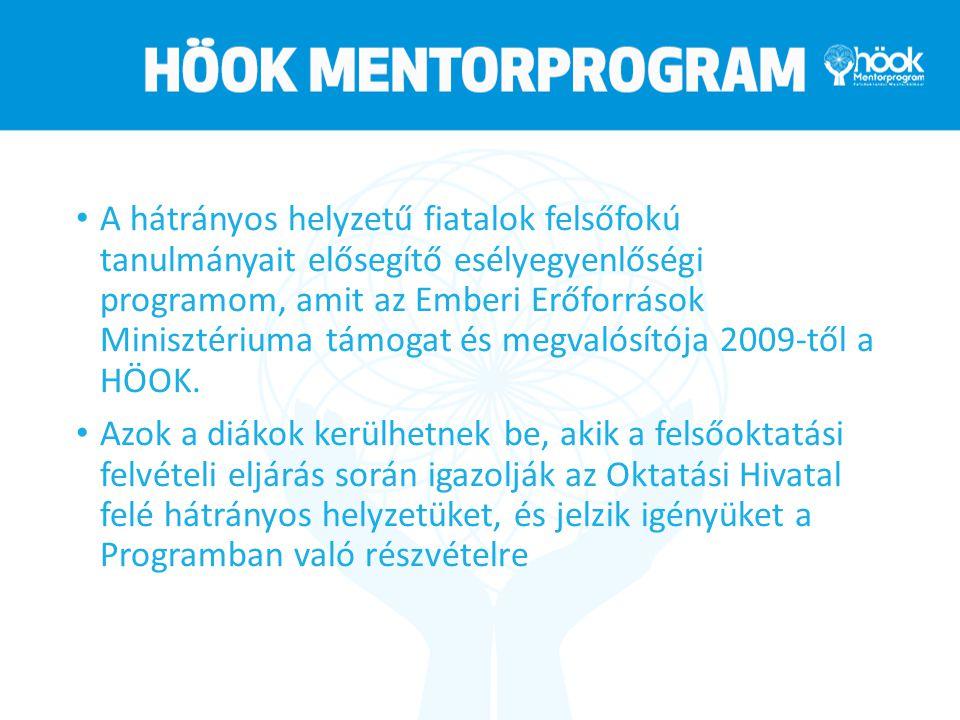 A hátrányos helyzetű fiatalok felsőfokú tanulmányait elősegítő esélyegyenlőségi programom, amit az Emberi Erőforrások Minisztériuma támogat és megvalósítója 2009-től a HÖOK.