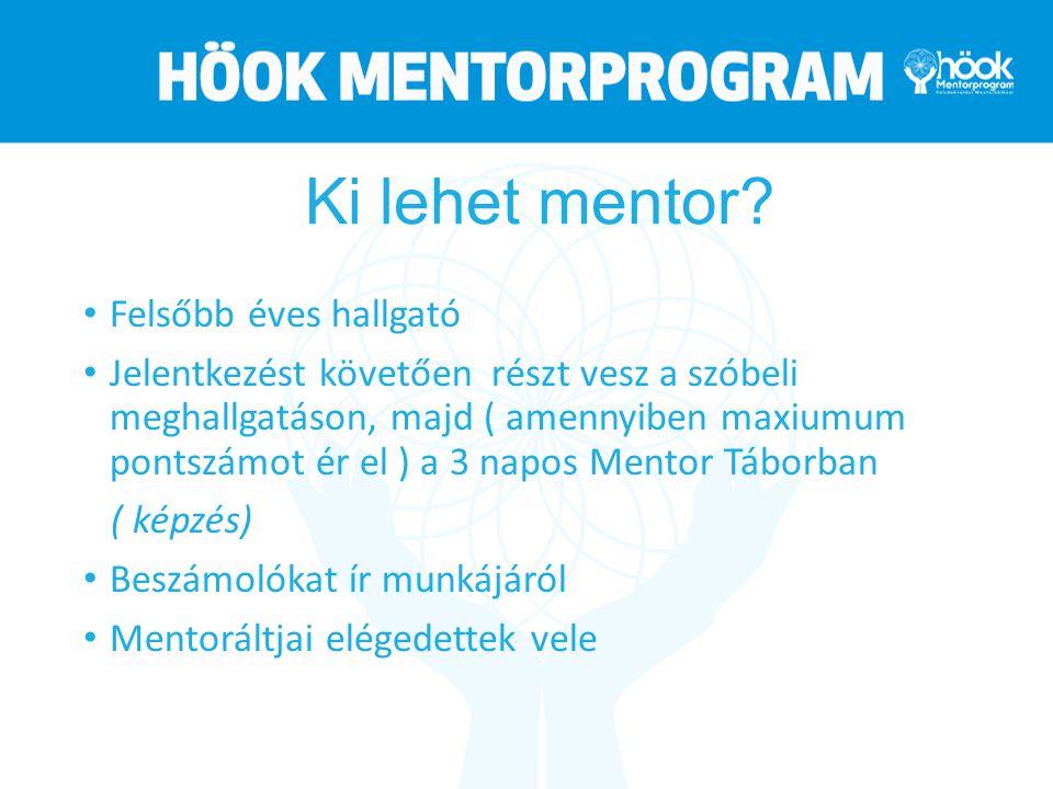 Ki lehet mentor? Felsőbb éves hallgató Jelentkezést követően részt vesz a szóbeli meghallgatáson, majd ( amennyiben maxiumum pontszámot ér el ) a 3 na