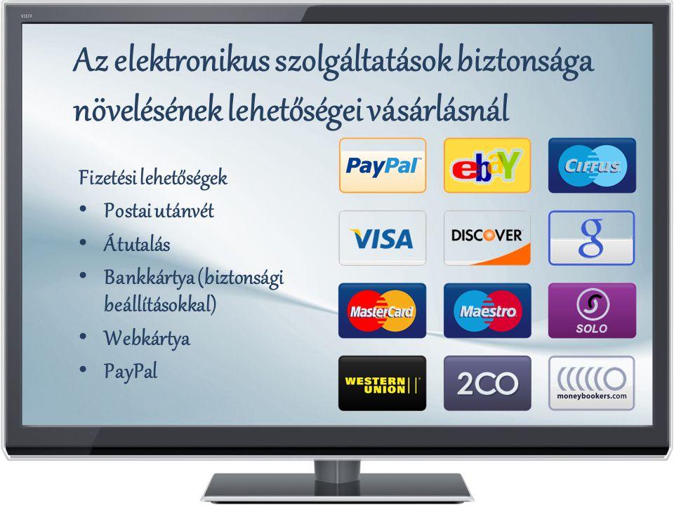 Az elektronikus szolgáltatások biztonsága növelésének lehetőségei vásárlásnál Fizetési lehetőségek Postai utánvét Átutalás Bankkártya (biztonsági beállításokkal) Webkártya PayPal
