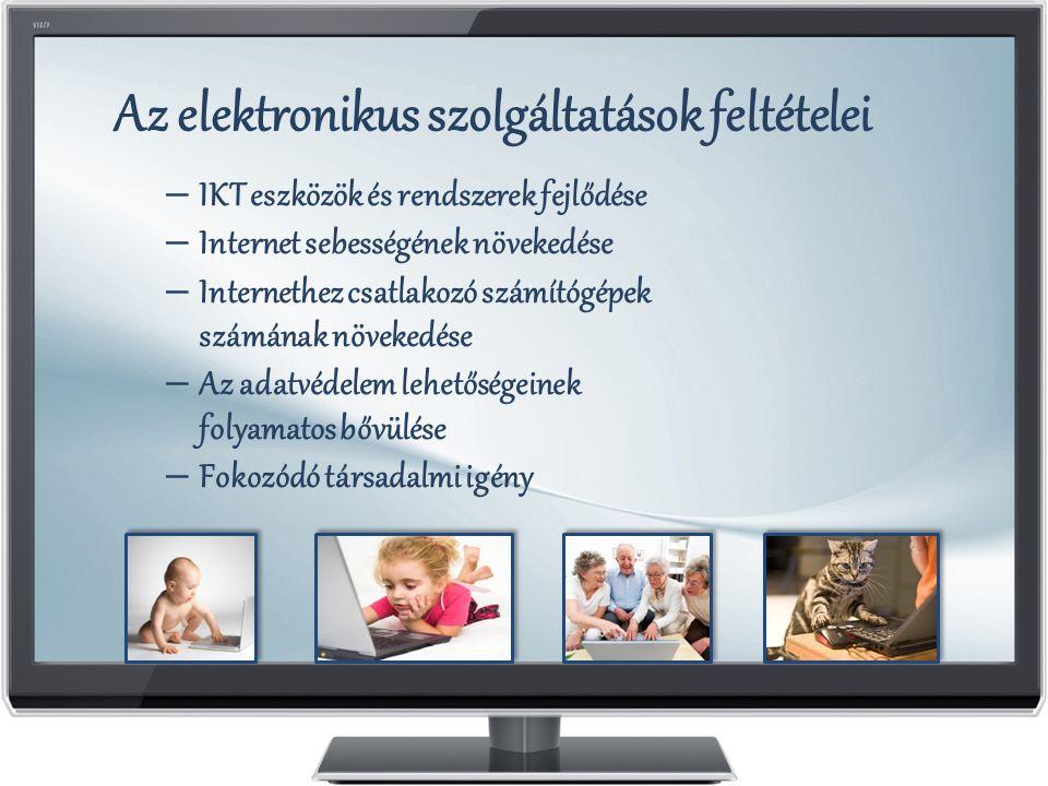 Az elektronikus szolgáltatások feltételei – IKT eszközök és rendszerek fejlődése – Internet sebességének növekedése – Internethez csatlakozó számítógé