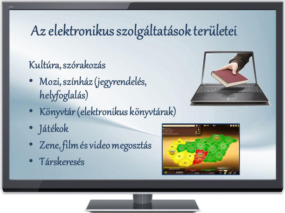 Az elektronikus szolgáltatások területei Kultúra, szórakozás Mozi, színház (jegyrendelés, helyfoglalás) Könyvtár (elektronikus könyvtárak) Játékok Zene, film és video megosztás Társkeresés