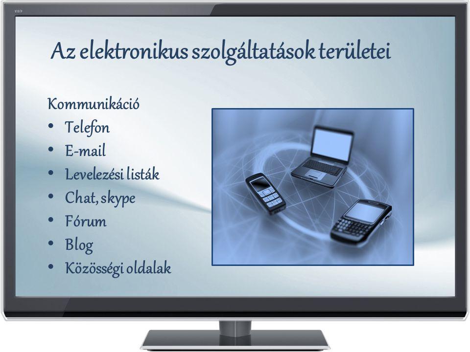 Az elektronikus szolgáltatások területei Kommunikáció Telefon E-mail Levelezési listák Chat, skype Fórum Blog Közösségi oldalak