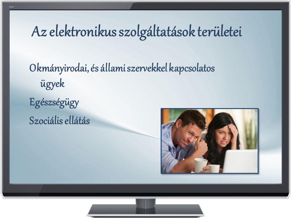 Az elektronikus szolgáltatások területei Okmányirodai, és állami szervekkel kapcsolatos ügyek Egészségügy Szociális ellátás