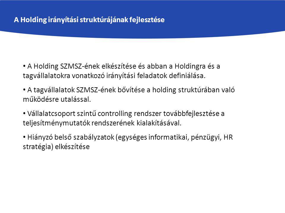 A Holding irányítási struktúrájának fejlesztése A Holding SZMSZ-ének elkészítése és abban a Holdingra és a tagvállalatokra vonatkozó irányítási feladatok definiálása.