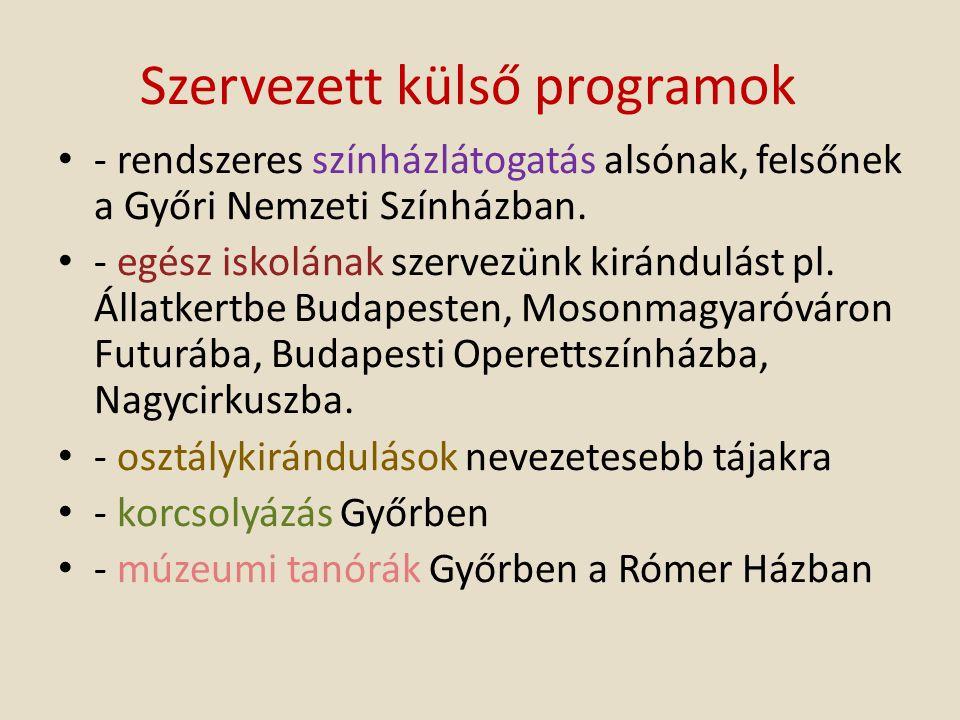 Szervezett külső programok - rendszeres színházlátogatás alsónak, felsőnek a Győri Nemzeti Színházban. - egész iskolának szervezünk kirándulást pl. Ál