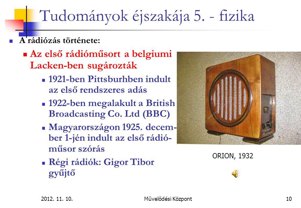2012. 11. 10.Művelődési Központ10 Tudományok éjszakája 5. - fizika A rádiózás története: Az első rádióműsort a belgiumi Lacken-ben sugározták 1921-ben
