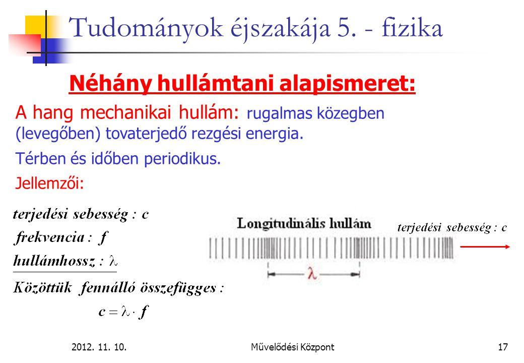 2012. 11. 10.Művelődési Központ17 Tudományok éjszakája 5. - fizika Néhány hullámtani alapismeret: A hang mechanikai hullám: rugalmas közegben (levegőb