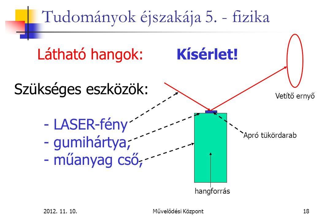 2012. 11. 10.Művelődési Központ18 Tudományok éjszakája 5. - fizika Látható hangok: Szükséges eszközök: - LASER-fény - gumihártya, - műanyag cső, hangf