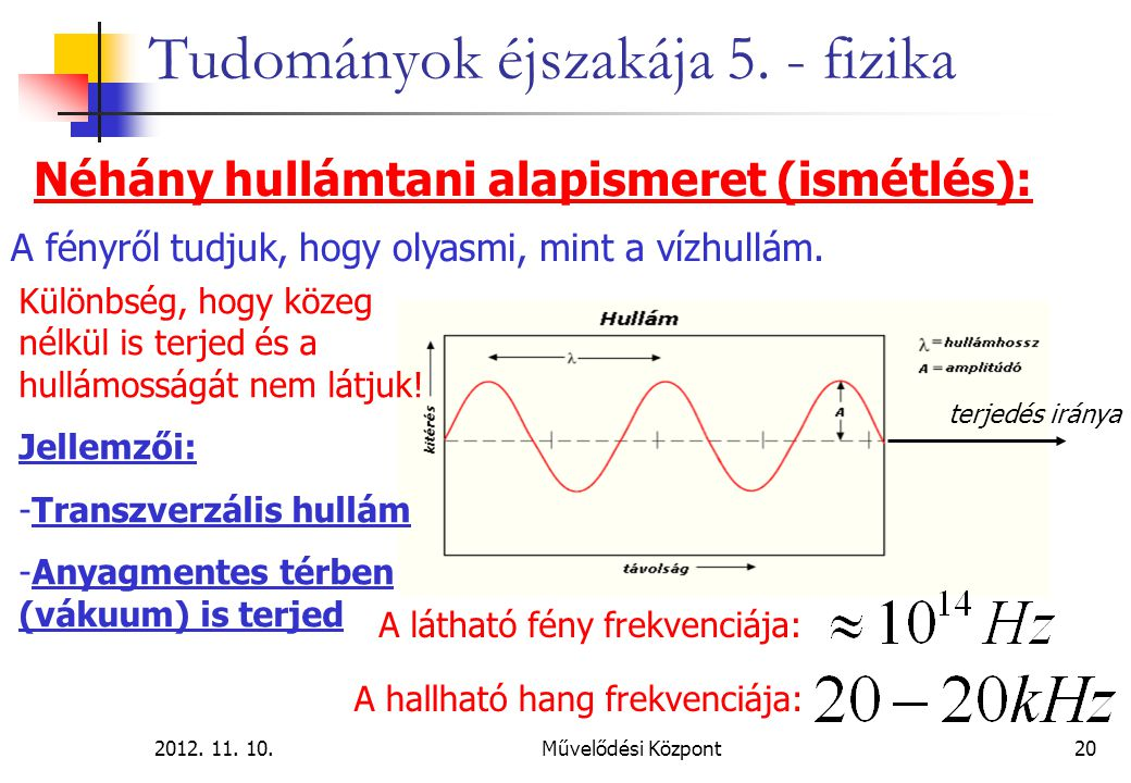 2012. 11. 10.Művelődési Központ20 Tudományok éjszakája 5. - fizika Néhány hullámtani alapismeret (ismétlés): terjedés iránya Különbség, hogy közeg nél