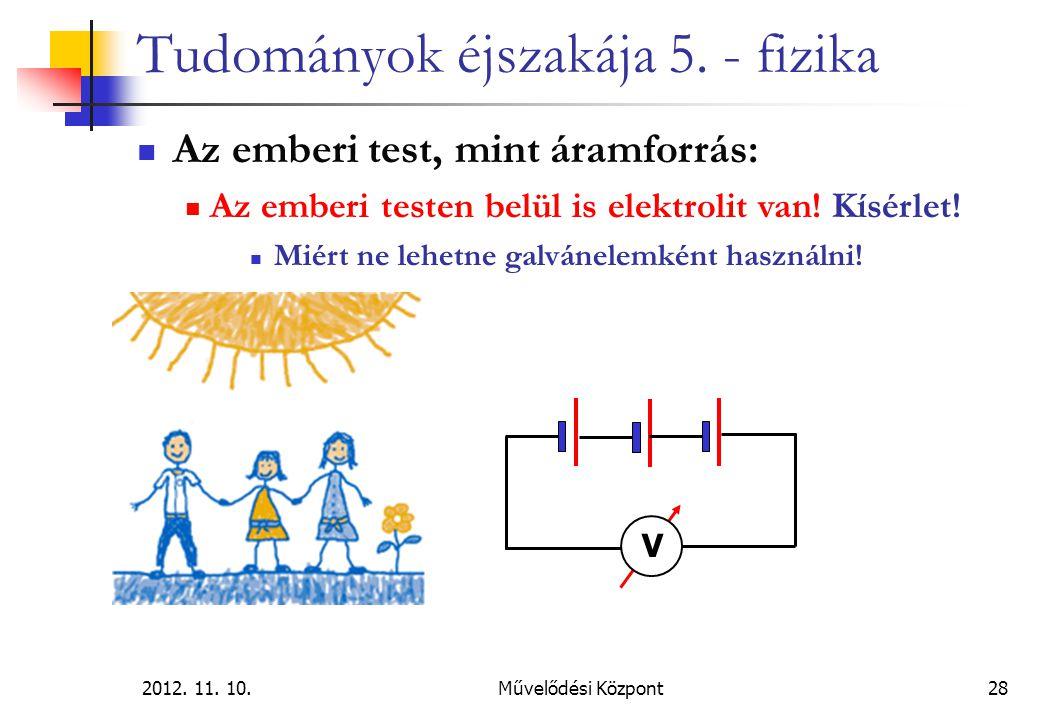 2012. 11. 10.Művelődési Központ28 Tudományok éjszakája 5. - fizika Az emberi test, mint áramforrás: Az emberi testen belül is elektrolit van! Kísérlet