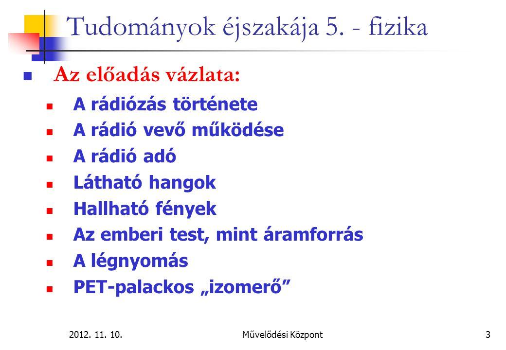 2012. 11. 10.Művelődési Központ3 Tudományok éjszakája 5. - fizika Az előadás vázlata: A rádiózás története A rádió vevő működése A rádió adó Látható h