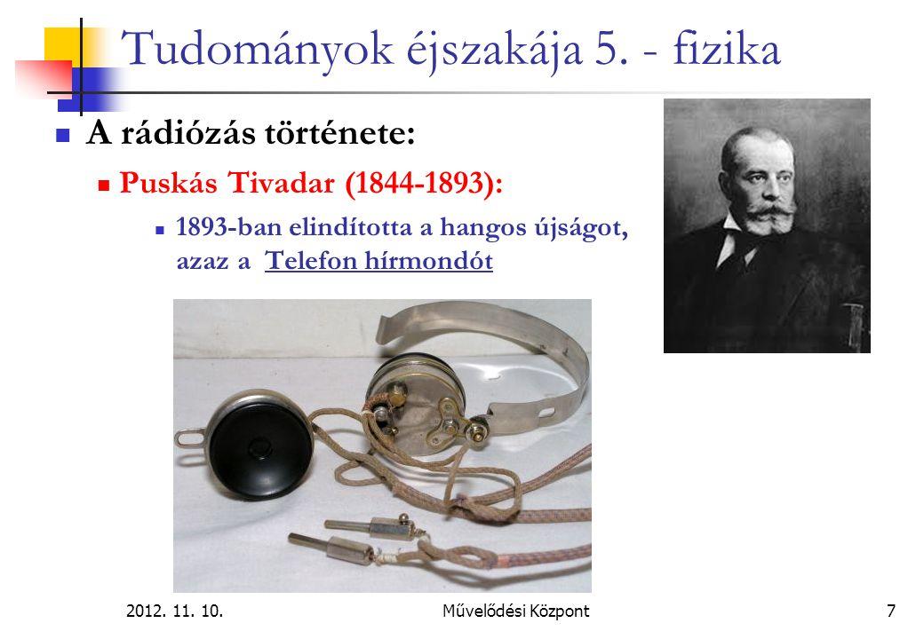 2012. 11. 10.Művelődési Központ7 Tudományok éjszakája 5. - fizika A rádiózás története: Puskás Tivadar (1844-1893): 1893-ban elindította a hangos újsá