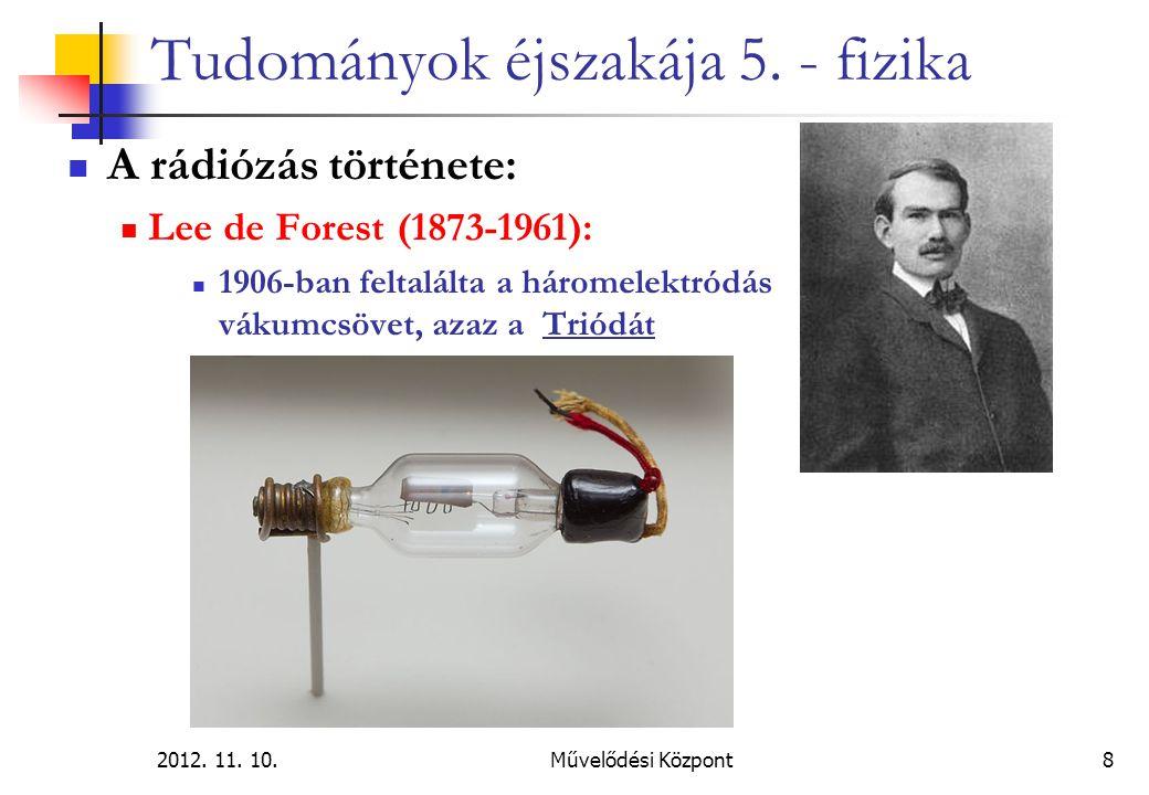 2012. 11. 10.Művelődési Központ8 Tudományok éjszakája 5. - fizika A rádiózás története: Lee de Forest (1873-1961): 1906-ban feltalálta a háromelektród