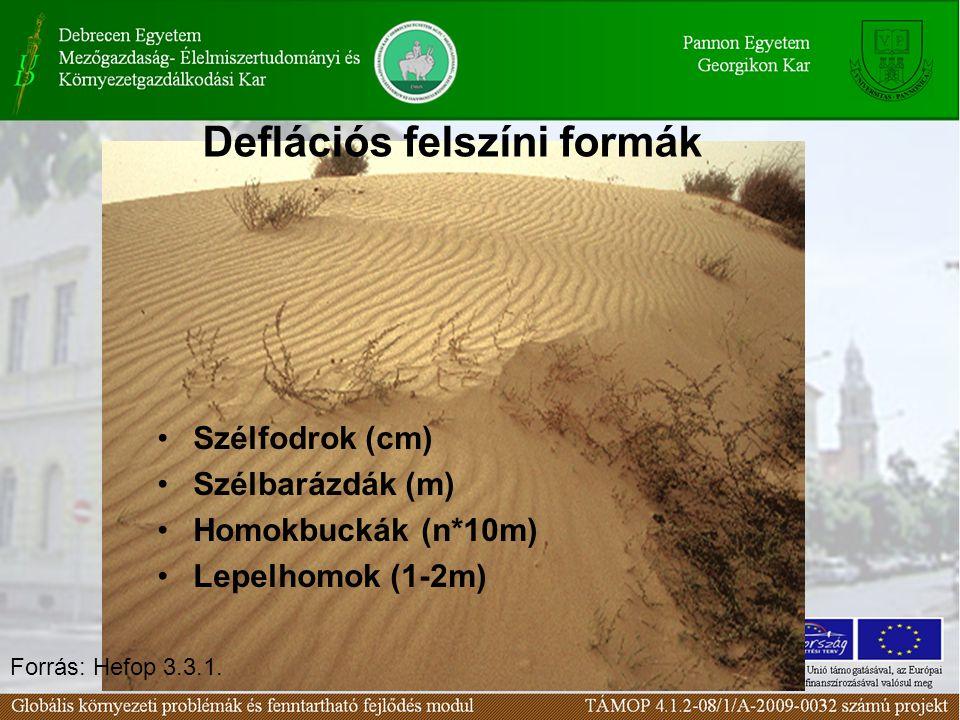Szélfodrok (cm) Szélbarázdák (m) Homokbuckák (n*10m) Lepelhomok (1-2m) Deflációs felszíni formák Forrás: Hefop 3.3.1.