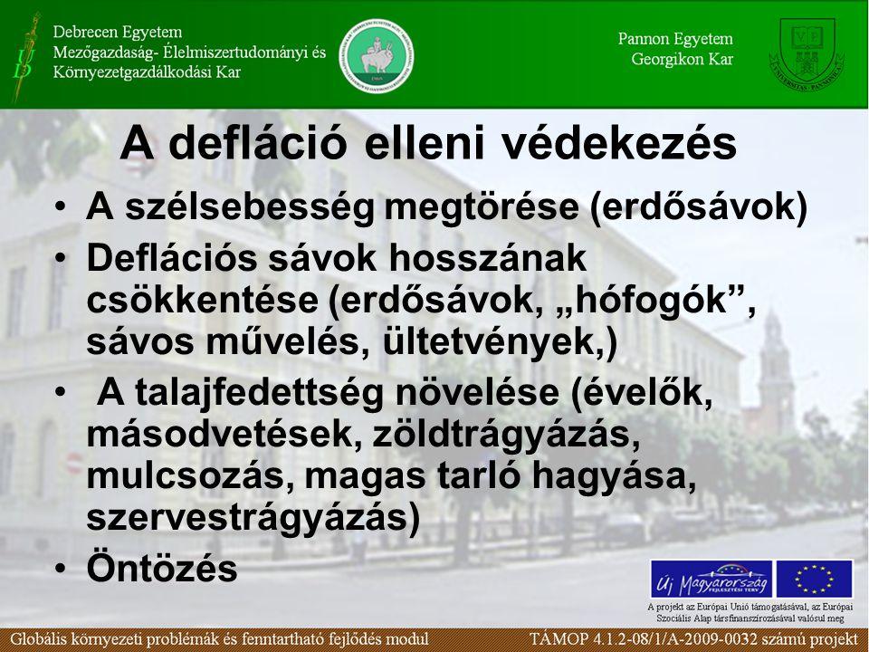 """A defláció elleni védekezés A szélsebesség megtörése (erdősávok) Deflációs sávok hosszának csökkentése (erdősávok, """"hófogók , sávos művelés, ültetvények,) A talajfedettség növelése (évelők, másodvetések, zöldtrágyázás, mulcsozás, magas tarló hagyása, szervestrágyázás) Öntözés"""