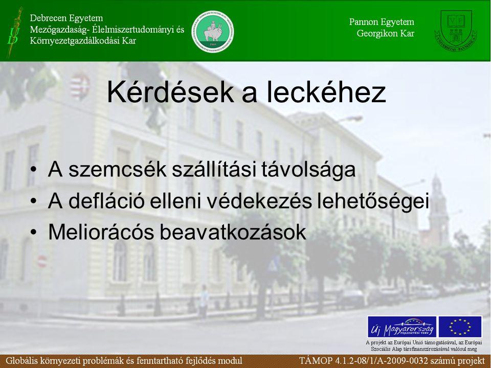 A szemcsék szállítási távolsága A defláció elleni védekezés lehetőségei Meliorácós beavatkozások Kérdések a leckéhez