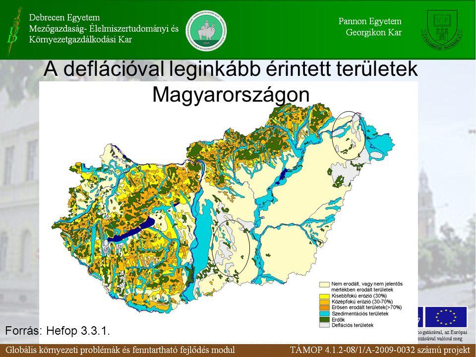 Forrás: Hefop 3.3.1. A deflációval leginkább érintett területek Magyarországon