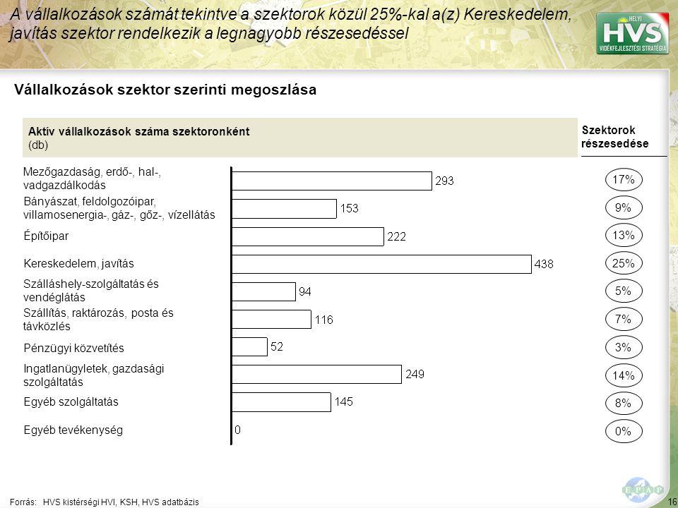 16 Forrás:HVS kistérségi HVI, KSH, HVS adatbázis Vállalkozások szektor szerinti megoszlása A vállalkozások számát tekintve a szektorok közül 25%-kal a(z) Kereskedelem, javítás szektor rendelkezik a legnagyobb részesedéssel Aktív vállalkozások száma szektoronként (db) Mezőgazdaság, erdő-, hal-, vadgazdálkodás Bányászat, feldolgozóipar, villamosenergia-, gáz-, gőz-, vízellátás Építőipar Kereskedelem, javítás Szálláshely-szolgáltatás és vendéglátás Szállítás, raktározás, posta és távközlés Pénzügyi közvetítés Ingatlanügyletek, gazdasági szolgáltatás Egyéb szolgáltatás Egyéb tevékenység Szektorok részesedése 17% 9% 25% 5% 7% 14% 8% 0% 13% 3%