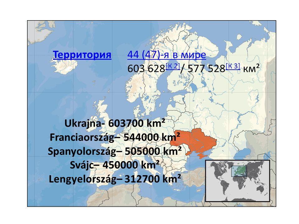 Ukrajna- 603700 km² Franciaország– 544000 km² Spanyolország– 505000 km² Svájc– 450000 km² Lengyelország– 312700 km² Территория44 (47)-я в мире 44 (47)