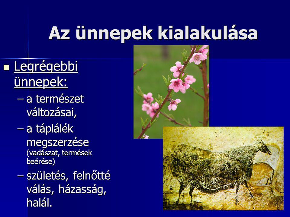 Az ünnepek kialakulása Legrégebbi ünnepek: Legrégebbi ünnepek: –a természet változásai, –a táplálék megszerzése (vadászat, termések beérése) –születés