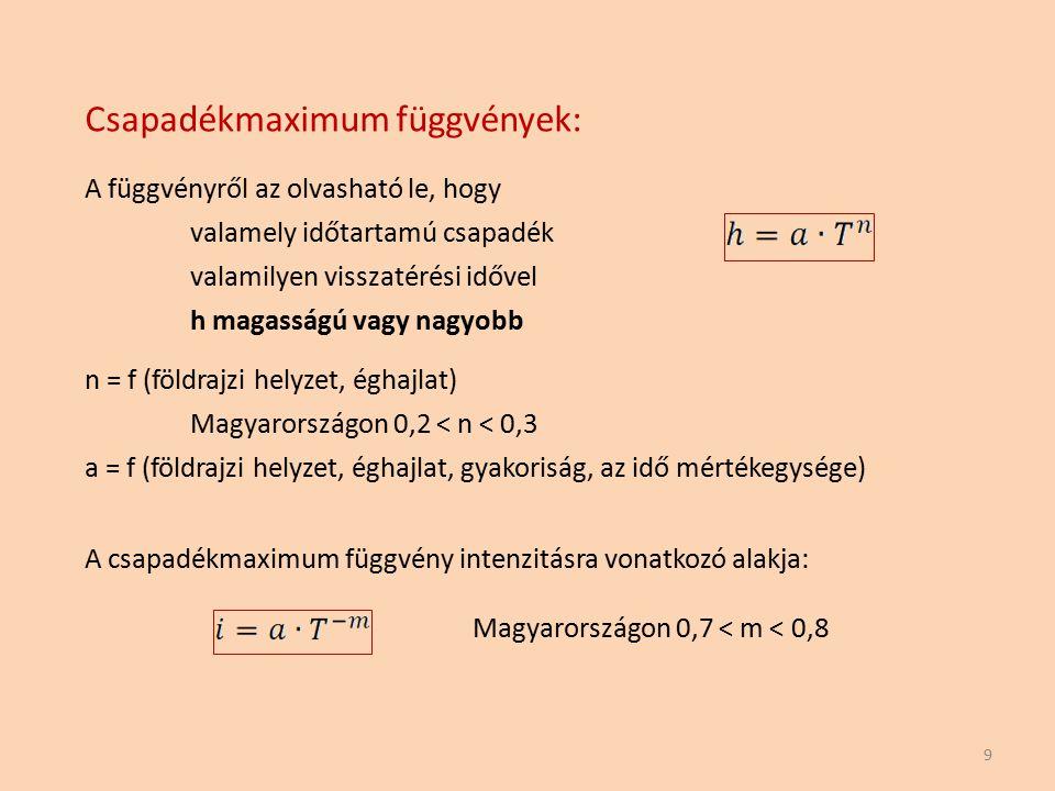 Csapadékmaximum függvények: A függvényről az olvasható le, hogy valamely időtartamú csapadék valamilyen visszatérési idővel h magasságú vagy nagyobb 9
