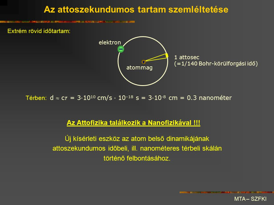 MTA – SZFKI Extrém rövid időtartam: elektron atommag 1 attosec (=1/140 Bohr-körülforgási idő) Térben: d  c  = 3·10 10 cm/s · 10 –18 s = 3·10 -8 cm =