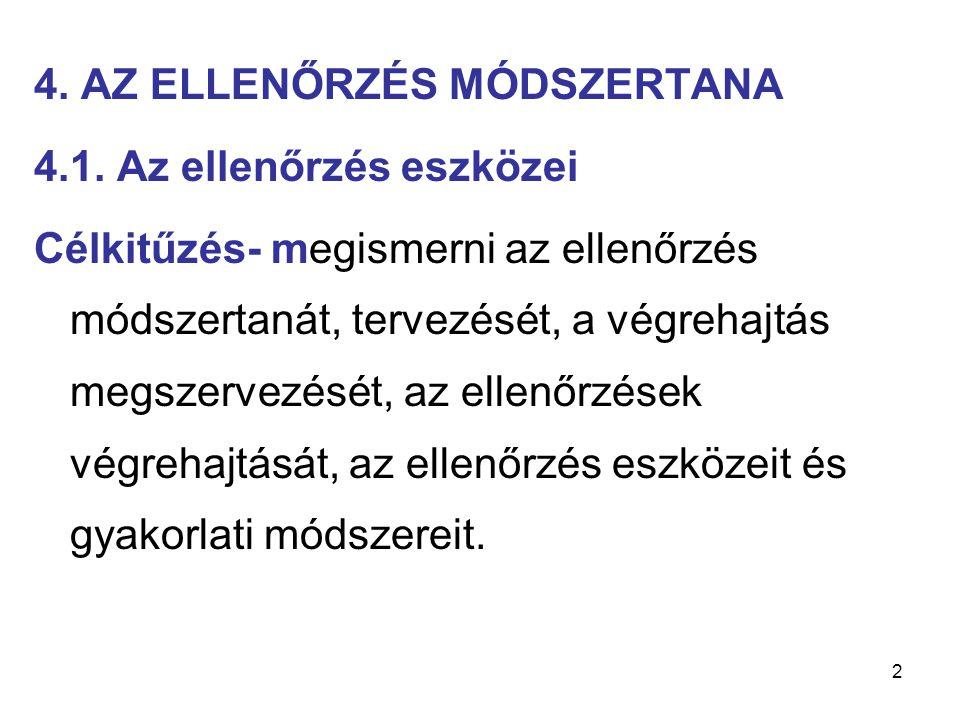2 4. AZ ELLENŐRZÉS MÓDSZERTANA 4.1. Az ellenőrzés eszközei Célkitűzés- megismerni az ellenőrzés módszertanát, tervezését, a végrehajtás megszervezését