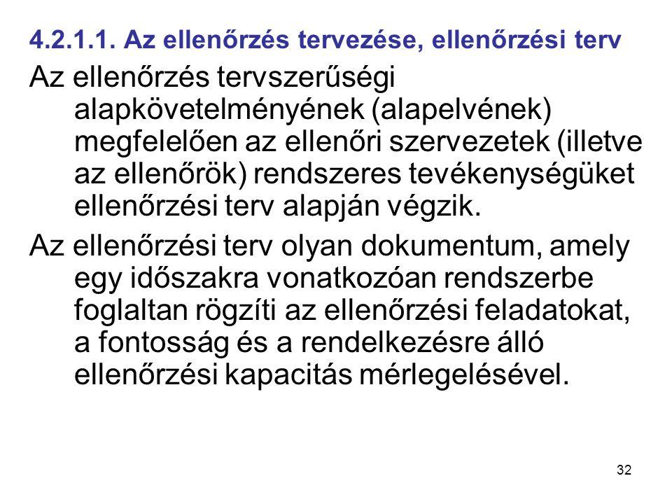 32 4.2.1.1. Az ellenőrzés tervezése, ellenőrzési terv Az ellenőrzés tervszerűségi alapkövetelményének (alapelvének) megfelelően az ellenőri szervezete