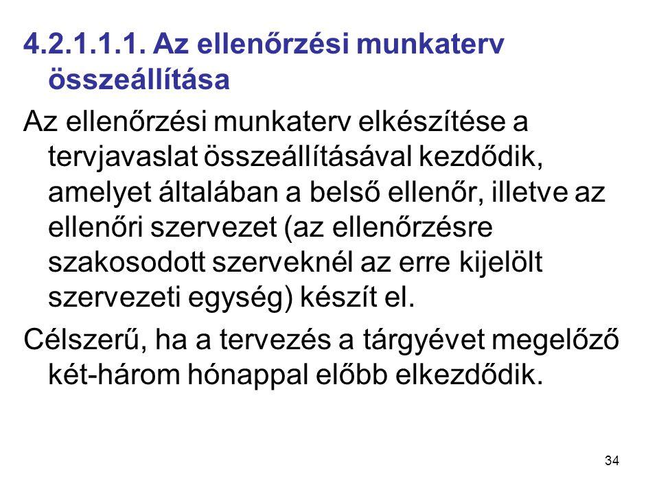34 4.2.1.1.1. Az ellenőrzési munkaterv összeállítása Az ellenőrzési munkaterv elkészítése a tervjavaslat összeállításával kezdődik, amelyet általában
