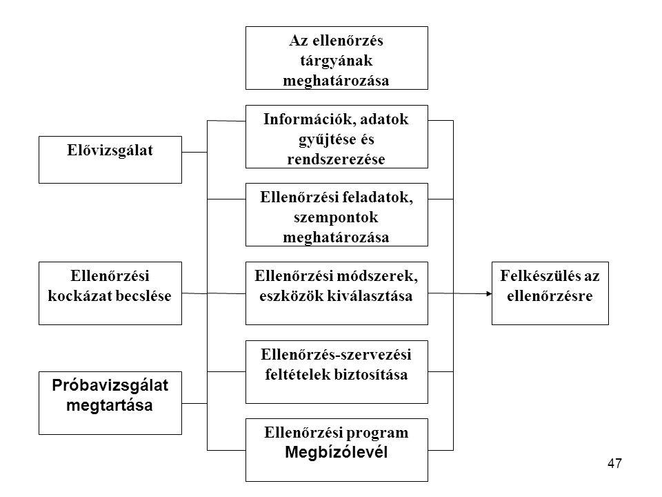 47 Az ellenőrzés tárgyának meghatározása Elővizsgálat Ellenőrzési kockázat becslése Próbavizsgálat megtartása Információk, adatok gyűjtése és rendszer