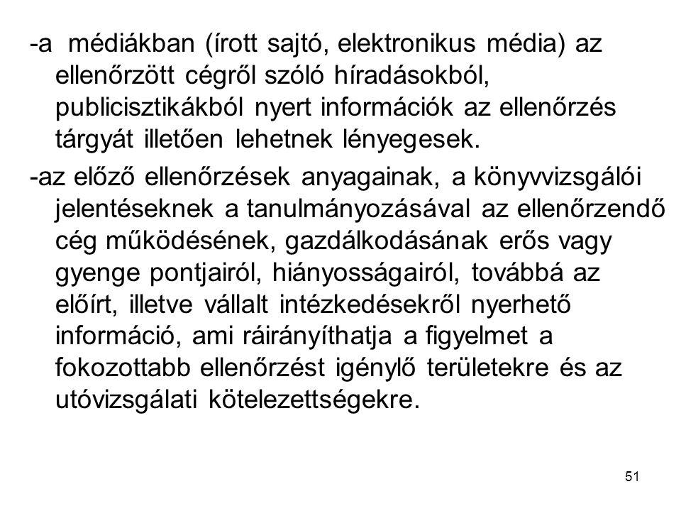 51 -a médiákban (írott sajtó, elektronikus média) az ellenőrzött cégről szóló híradásokból, publicisztikákból nyert információk az ellenőrzés tárgyát