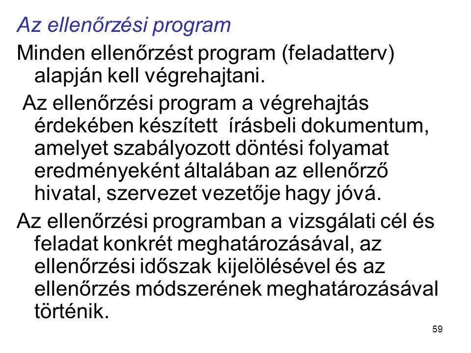 59 Az ellenőrzési program Minden ellenőrzést program (feladatterv) alapján kell végrehajtani. Az ellenőrzési program a végrehajtás érdekében készített