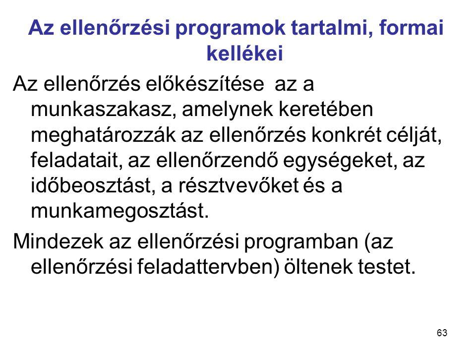 63 Az ellenőrzési programok tartalmi, formai kellékei Az ellenőrzés előkészítése az a munkaszakasz, amelynek keretében meghatározzák az ellenőrzés kon