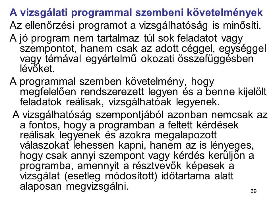 69 A vizsgálati programmal szembeni követelmények Az ellenőrzési programot a vizsgálhatóság is minősíti. A jó program nem tartalmaz túl sok feladatot