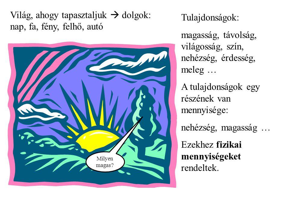 Világ, ahogy tapasztaljuk  dolgok: nap, fa, fény, felhő, autó Tulajdonságok: magasság, távolság, világosság, szín, nehézség, érdesség, meleg … A tula