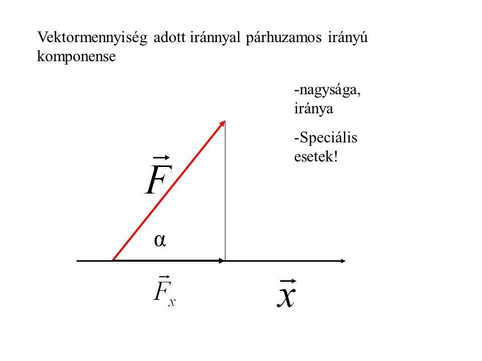 Vektormennyiség adott iránnyal párhuzamos irányú komponense α -nagysága, iránya -Speciális esetek!