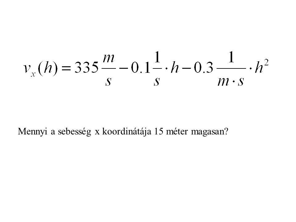 Mennyi a sebesség x koordinátája 15 méter magasan?