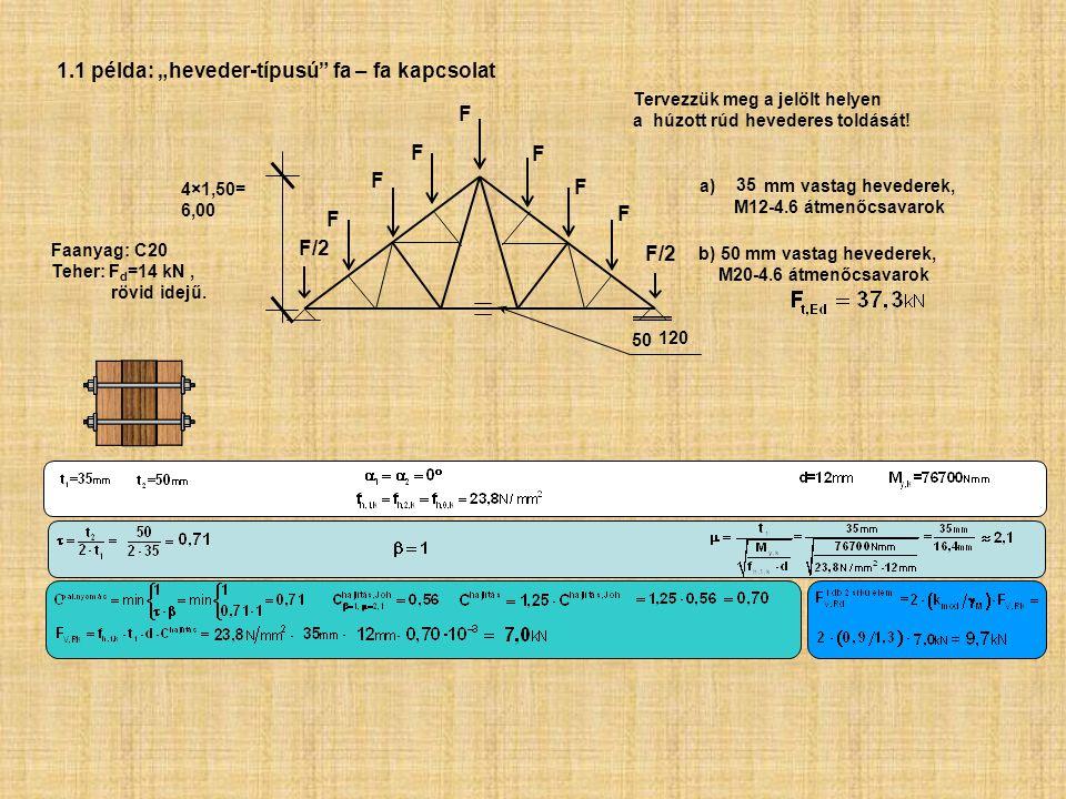50/120 Tervezzük meg a jelölt helyen a húzott rúd hevederes toldását! b) 50 mm vastag hevederek, M20-4.6 átmenőcsavarok a)35 mm vastag hevederek, M12-