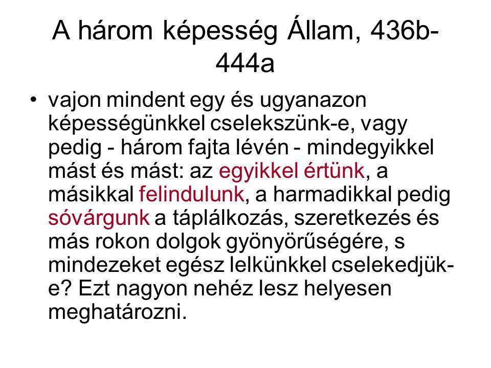 A három képesség Állam, 436b- 444a vajon mindent egy és ugyanazon képességünkkel cselekszünk-e, vagy pedig - három fajta lévén - mindegyikkel mást és