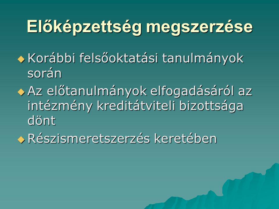 Előképzettség megszerzése  Korábbi felsőoktatási tanulmányok során  Az előtanulmányok elfogadásáról az intézmény kreditátviteli bizottsága dönt  Ré