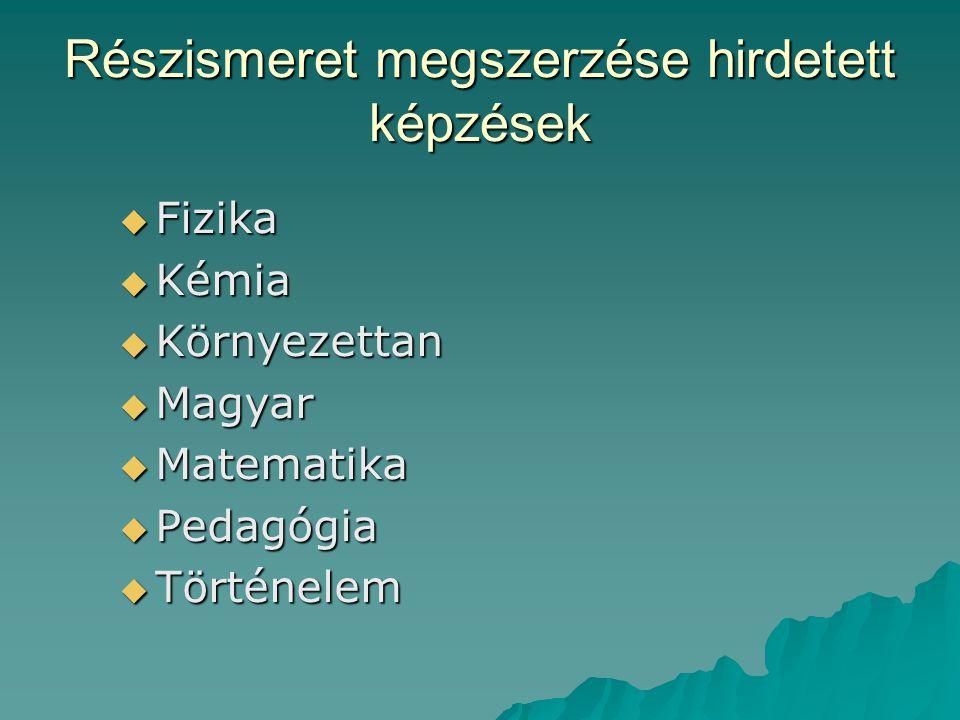 Részismeret megszerzése hirdetett képzések  Fizika  Kémia  Környezettan  Magyar  Matematika  Pedagógia  Történelem