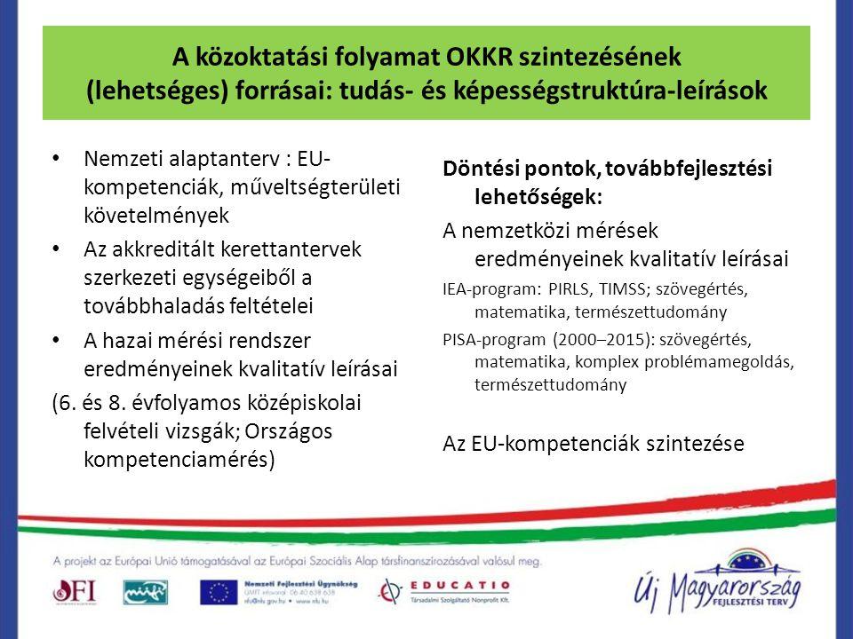 A közoktatási folyamat OKKR szintezésének (lehetséges) forrásai: tudás- és képességstruktúra-leírások Nemzeti alaptanterv : EU- kompetenciák, műveltsé