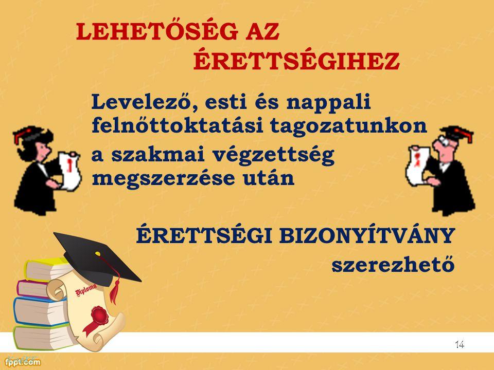 LEHETŐSÉG AZ ÉRETTSÉGIHEZ Levelező, esti és nappali felnőttoktatási tagozatunkon a szakmai végzettség megszerzése után ÉRETTSÉGI BIZONYÍTVÁNY szerezhe