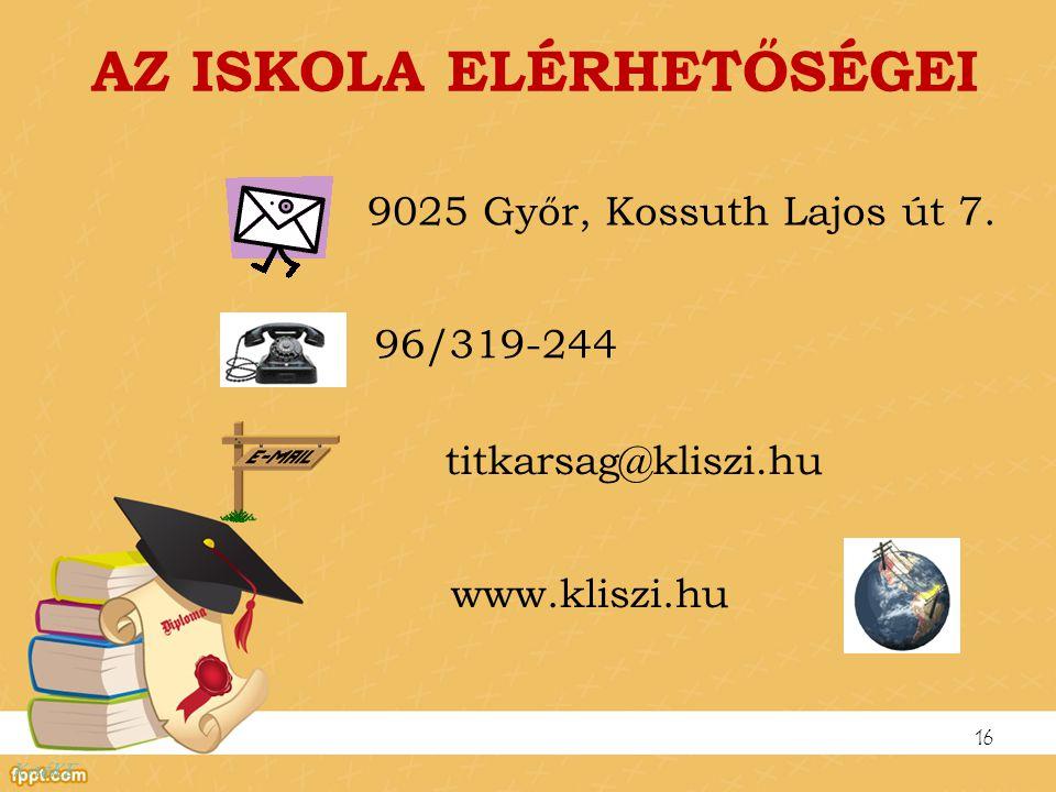 AZ ISKOLA ELÉRHETŐSÉGEI 9025 Győr, Kossuth Lajos út 7. 16 96/319-244 titkarsag@kliszi.hu www.kliszi.hu KnéKE