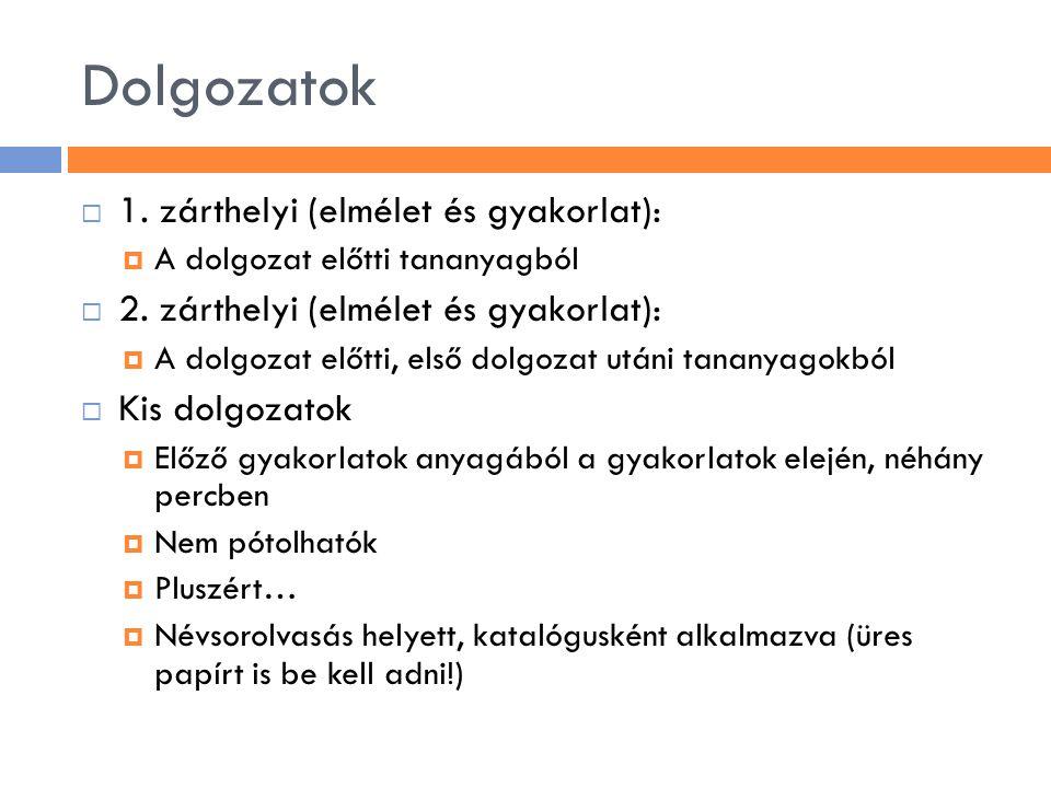 Dolgozatok  1.zárthelyi (elmélet és gyakorlat):  A dolgozat előtti tananyagból  2.