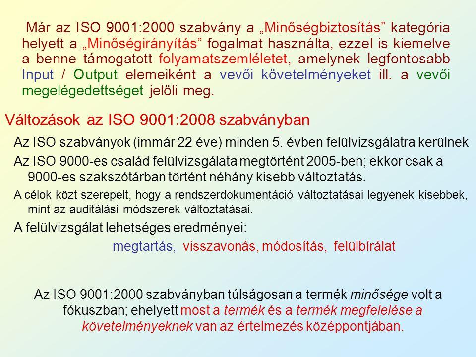 """Már az ISO 9001:2000 szabvány a """"Minőségbiztosítás"""" kategória helyett a """"Minőségirányítás"""" fogalmat használta, ezzel is kiemelve a benne támogatott fo"""