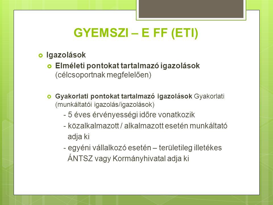 GYEMSZI – E FF (ETI)  Igazolások  Elméleti pontokat tartalmazó igazolások (célcsoportnak megfelelően)  Gyakorlati pontokat tartalmazó igazolások Gy