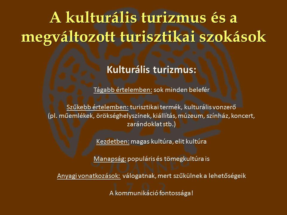 A kulturális turizmus és a megváltozott turisztikai szokások Kulturális turizmus: Tágabb értelemben: sok minden belefér Szűkebb értelemben: turisztikai termék, kulturális vonzerő (pl.