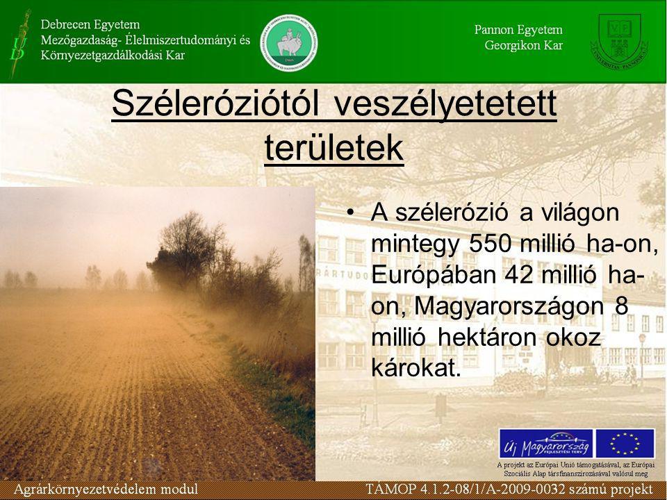 Széleróziótól veszélyetetett területek A szélerózió a világon mintegy 550 millió ha-on, Európában 42 millió ha- on, Magyarországon 8 millió hektáron okoz károkat.